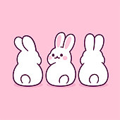 Cute cartoon white rabbits sitting from back view, simple drawing. Kawaii bunny butts vector clip art illustration.