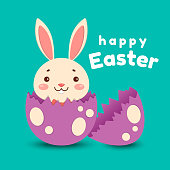 A cute cartoon bunny in a red bow tie hatched from an egg and smiles. Isolated on turquoise background. Happy Easter.