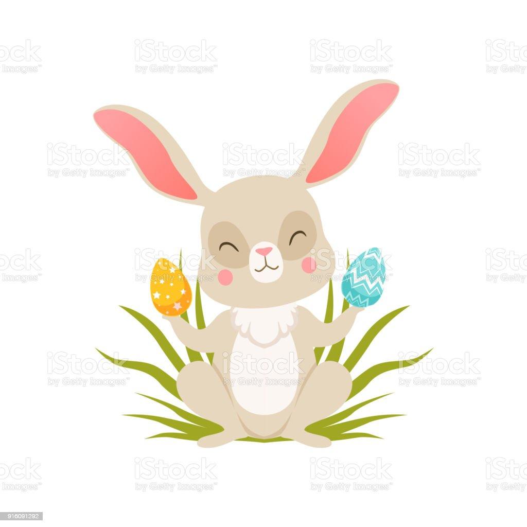 Niedlichen Cartoon Bunny Sitzen Auf Dem Rasen Mit Eiern Lustige Hase