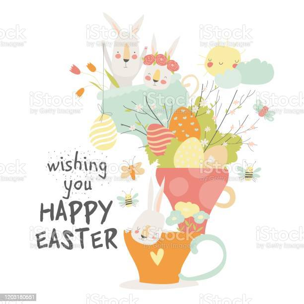 Cute cartoon bunny with easter eggs and flowers vector id1203180551?b=1&k=6&m=1203180551&s=612x612&h=wuif1fdlq5fd c920q kljq14kuppci  cxzq8vgvb0=