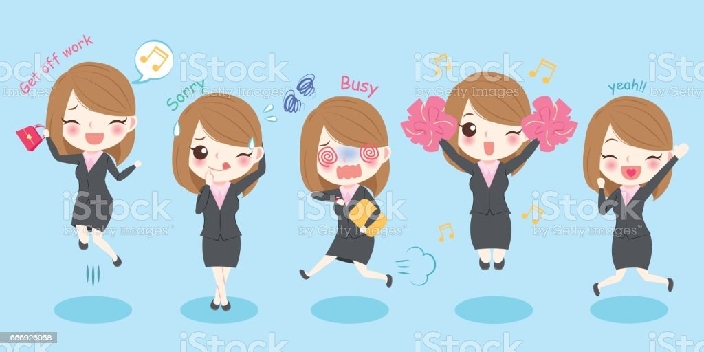 cute cartoon business woman vector art illustration