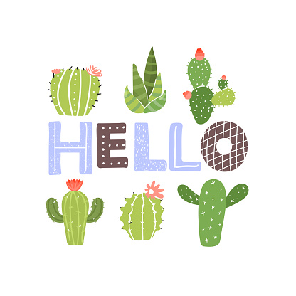 Cute cartoon cactus plants. Print with hello inspirational text message.