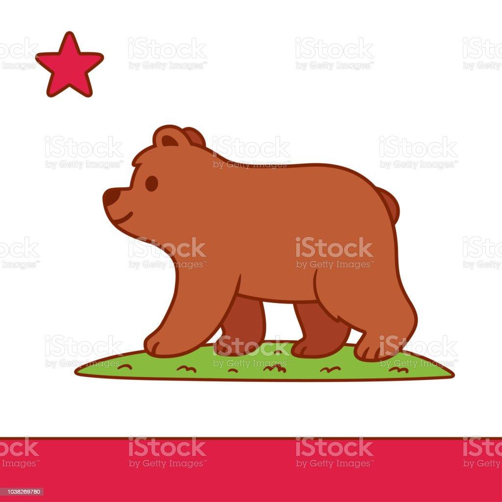 Cute cartoon California flag vector art illustration