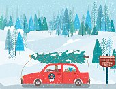 Cute Cartoon Car Driving With a Christmas Tree on The Roof. There is a winter forest and snowy hills in the background.
