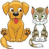 Cute cartoon cat and dog