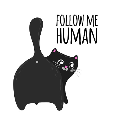 Cute cartoon cat back view and phrase follow me human. T-shirt and fashion design template. Vector illustration.