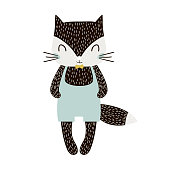 Cute cartoon cat boy in scandinavian style. Childish print for nursery, kids apparel,poster, postcard. Vector Illustration