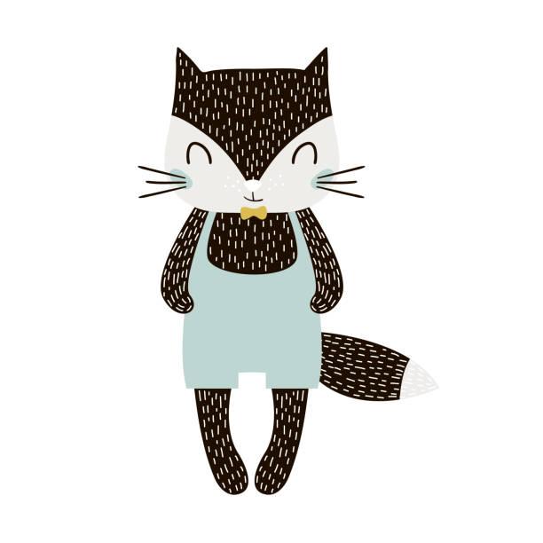 Niño de Gato lindo de la historieta en estilo escandinavo. Impresión infantil para guardería, ropa de niños, cartel, postal. Ilustración de vector - ilustración de arte vectorial