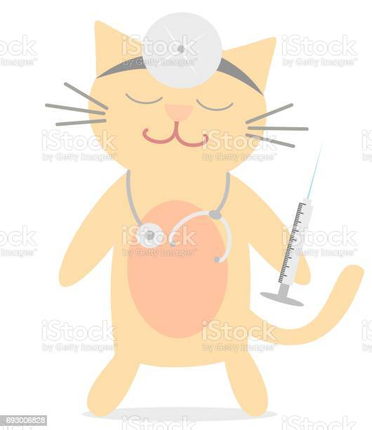 Cute cartoon cat doctor with stethoscope and syringe funny vector vector id693006828?b=1&k=6&m=693006828&s=612x612&h=6qb6gul5cixxd7knfdktvrai1zsatkscmkj dv3fg7c=