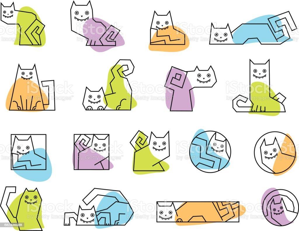 Cute cartoon cat emblem. Cartoon cat set. cute cartoon cat emblem cartoon cat set - stockowe grafiki wektorowe i więcej obrazów abstrakcja royalty-free