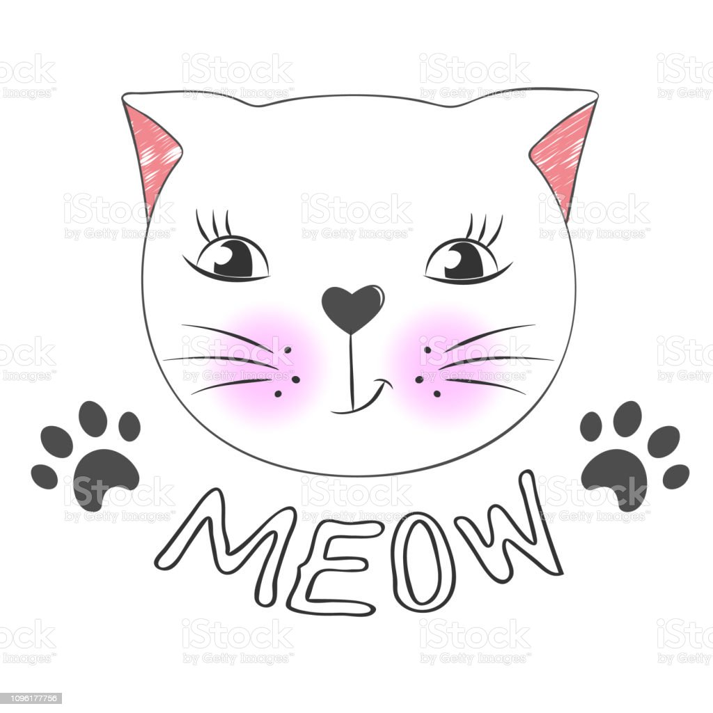 Cute Cartoon Cat Face And Inscription Meow Stock Illustration
