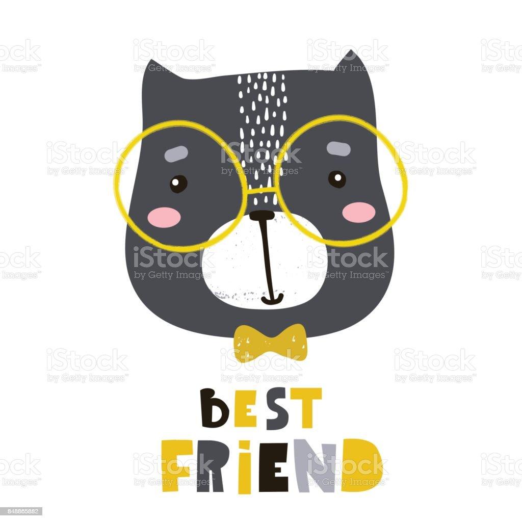 Cute Cartoon Cat Face Print Childish Print For Nursery Kids Apparelposter Postcard Vector Illustration Stock Illustration Download Image Now Istock