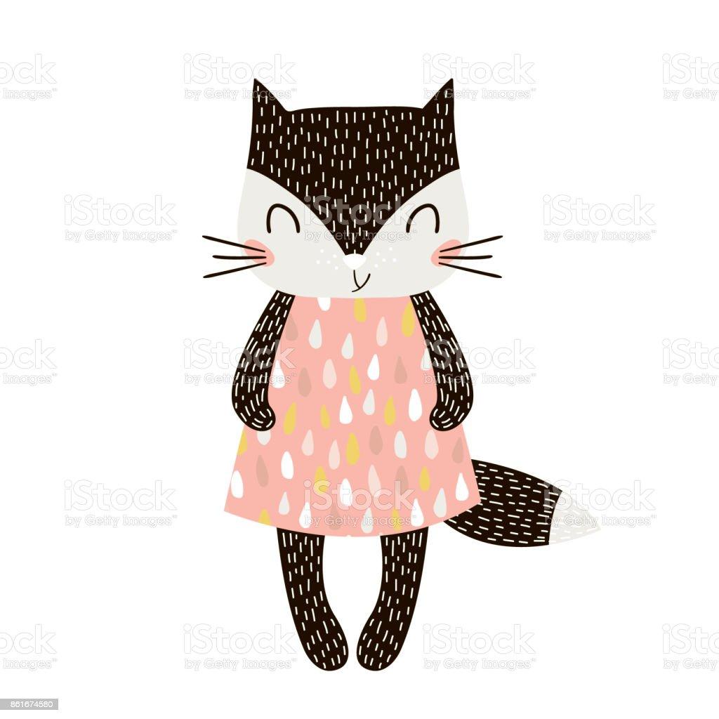 Chica linda de la historieta gato estilo escandinavo. Impresión infantil para guardería, ropa de niños, cartel, postal. Ilustración de vector - ilustración de arte vectorial