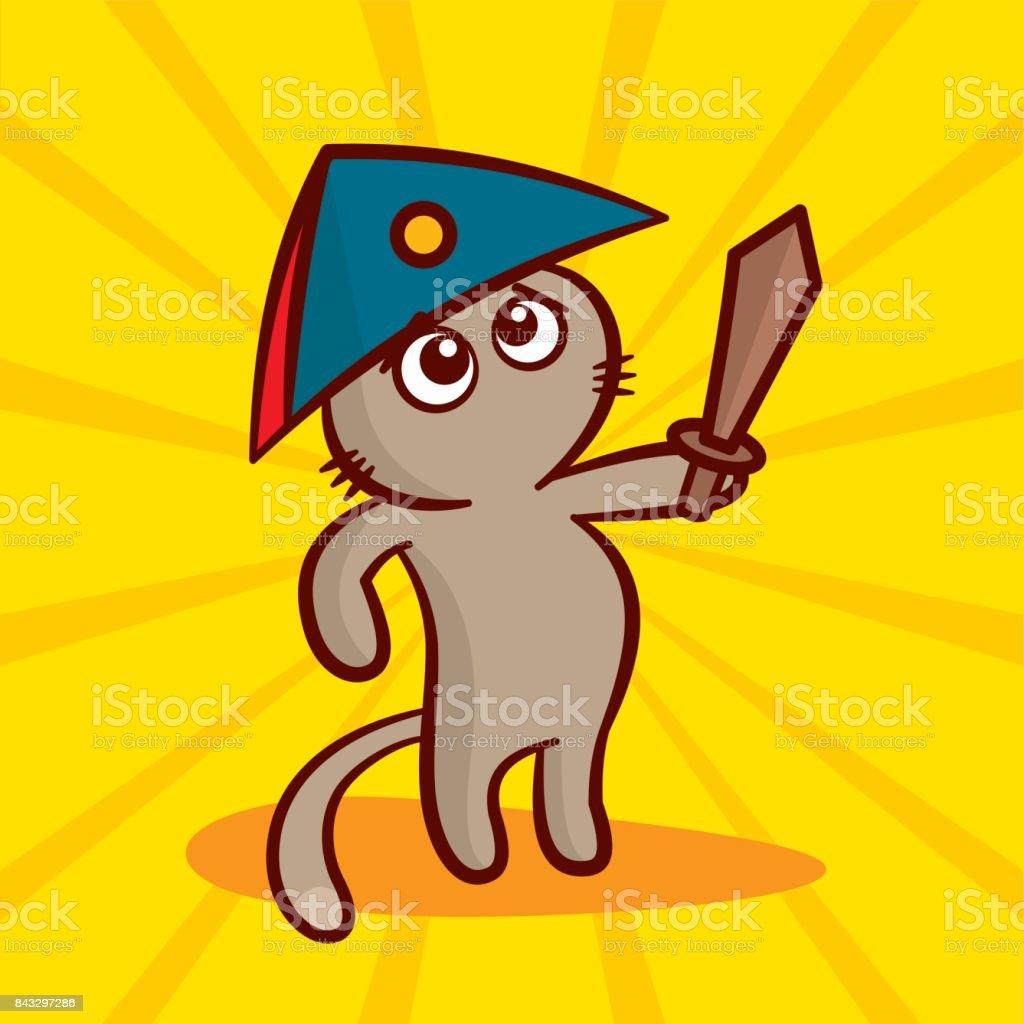 Ilustración de Cute Dibujos Animados De Gato En Un Sombrero ...