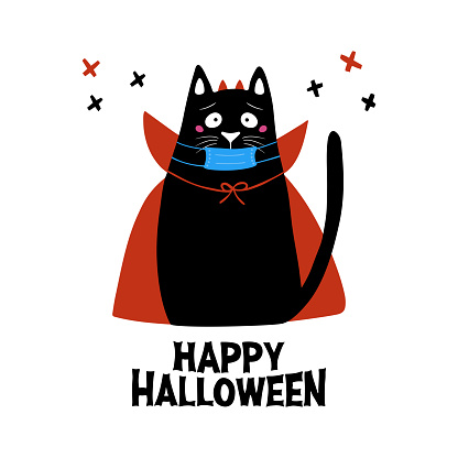Cute cartoon cat in medical mask wear vampire costume with horns and cloak. Doodle cross elements and Happy Halloween lettering. Holiday card. Isolated on white background Vector stock illustration