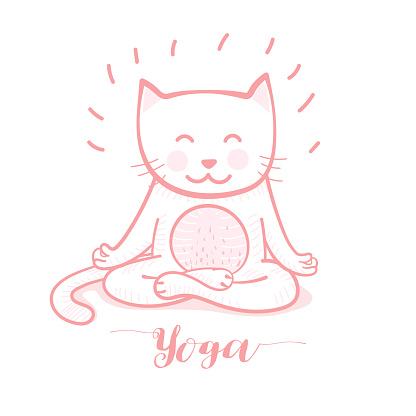 cute cartoon cat in yoga pose meditation a lotus position