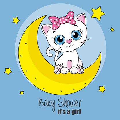 Cute cartoon cat on a moon