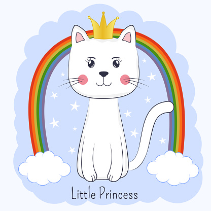 Cute cartoon cat princess and rainbow. Pretty kitty with crown.