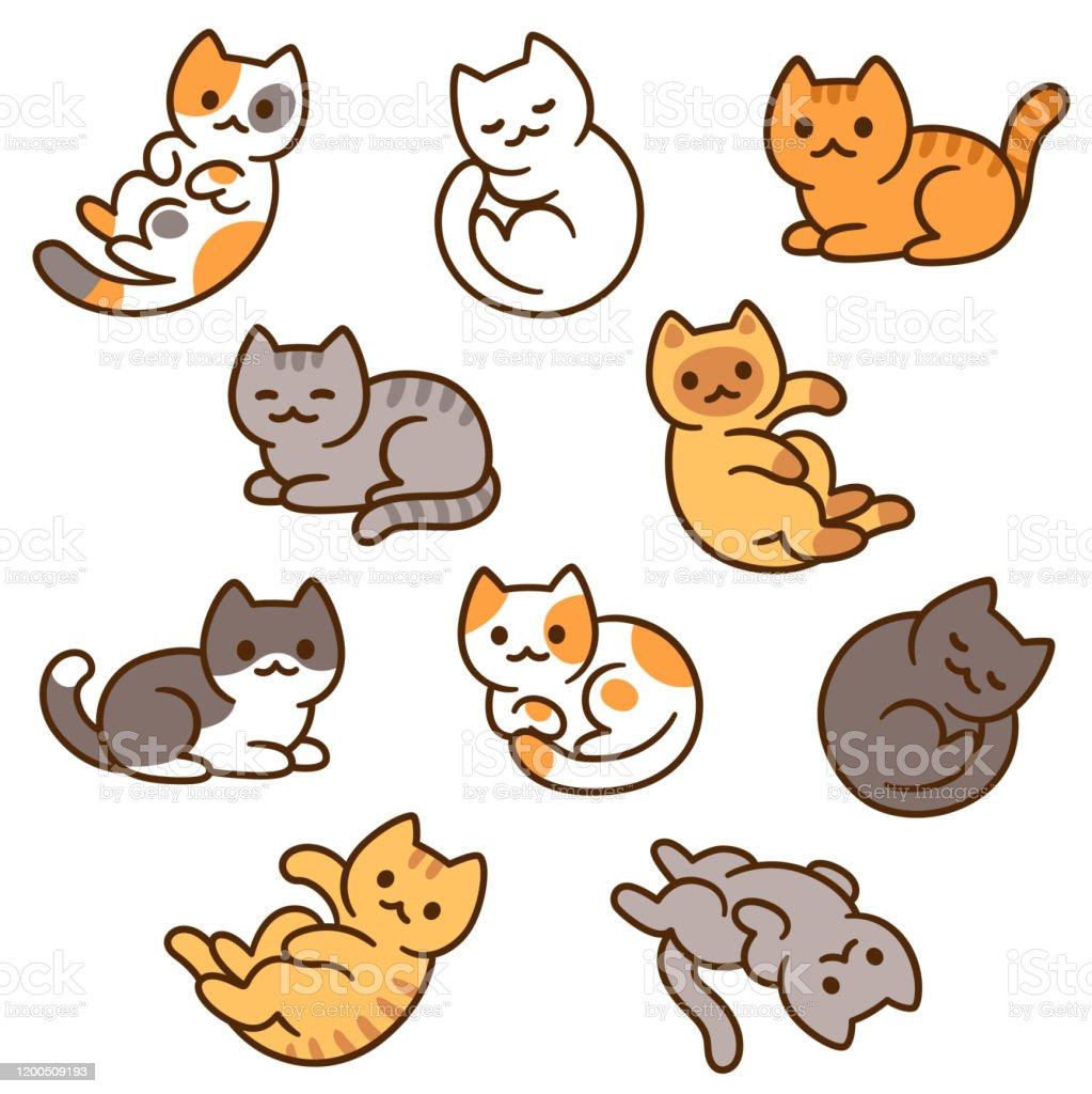 Cute Cartoon Cat Set Stock Illustration Download Image Now Istock