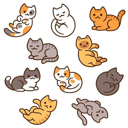 Cute cartoon cat set