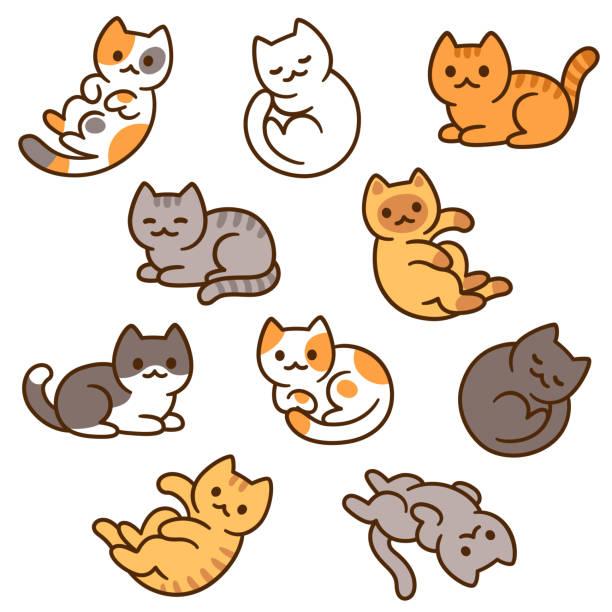 Cute cartoon cat set vector art illustration