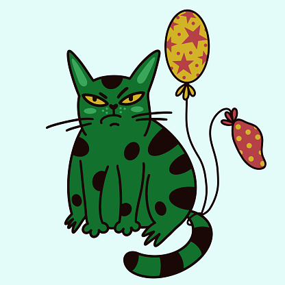 Cute cartoon cat vector icon. Green kitten with balloons. Grumpy cat celebrates birthday. Sad animal at the party. The pet is unhappy with the holiday. Pop art, flat style. Isolated print on a white background