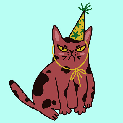 Cute cartoon cat vector icon. Isolated illustration on a light background. Displeased kitten in a festive cap. Grumpy pet is celebrating a birthday. Annoyed animal at a party. Flat style. Pop Art