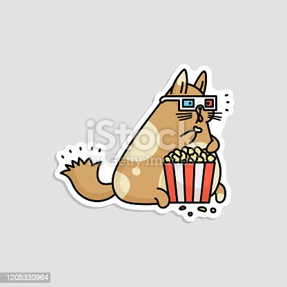 Cute cartoon cat watching a movie in 3D glasses and eating popcorn from striped box - funny animal sticker isolated on white background. Flat vector illustration.