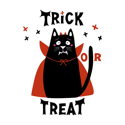 Cute cartoon cat wear vampire costume with fangs, horns and red cloak. Doodle crosses and Trick or treat lettering. Halloween greeting card. Isolated on white background. Vector stock illustration.