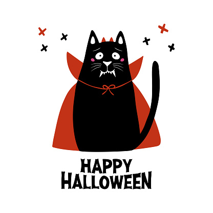 Cute cartoon cat wear vampire costume with fangs, horns and red cloak. Doodle cross elements and Happy Halloween lettering. Holiday card. Isolated on white background. Vector stock illustration.