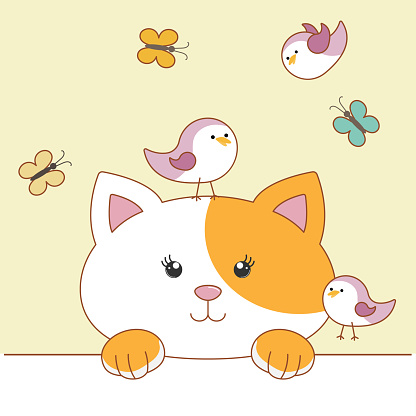Cute cartoon cat with birds and butterflies. Hello spring.