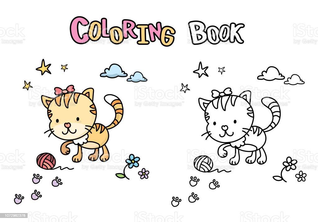 Ilustración De Dibujos Animados Lindo De Gato Libro Con