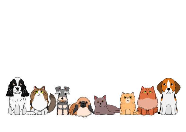 かわいい漫画の猫と犬のグループ ベクターアートイラスト