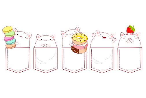 Cute cartoon cats pocket set