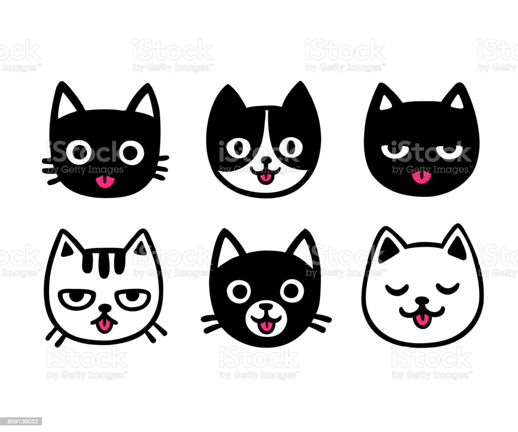Cute cartoon cats sticking out tongue vector art illustration