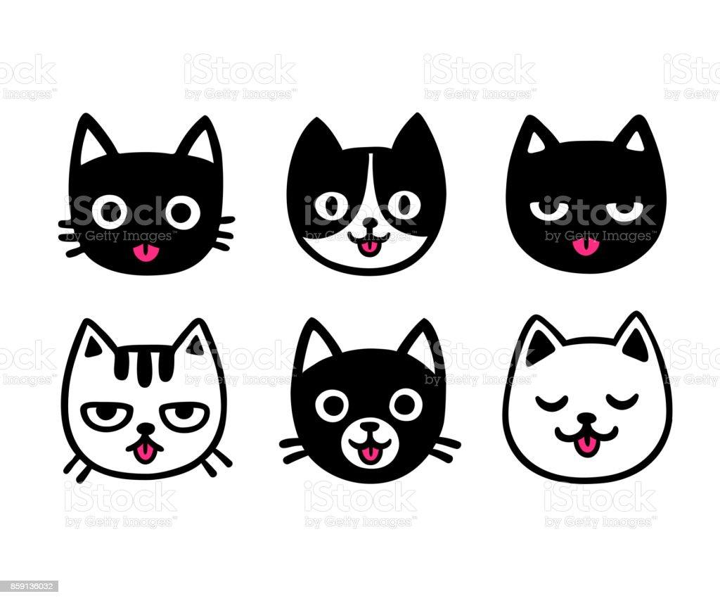 Chats de dessin animé mignon qui sort la langue - Illustration vectorielle