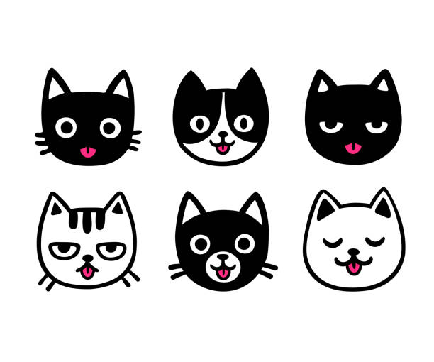 cute cartoon cats sticking out tongue - cat stock illustrations, clip art, cartoons, & icons