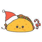 cute cartoon character christmas vector tacos with santa claus hat and candy cane isolated on white background