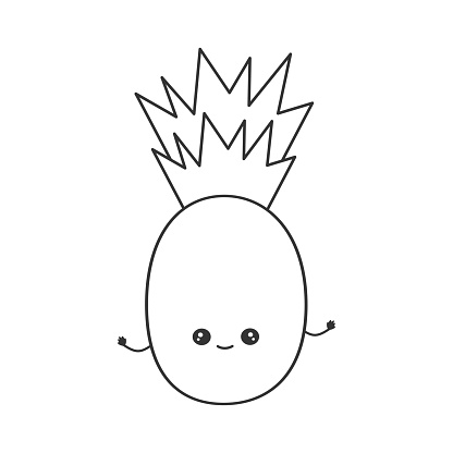 Cute Cartoon Character Pineapple Funny Black And White ...