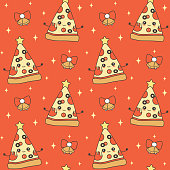 cute cartoon character pizza slice christmas tree with star on top holiday seamless vector pattern background illustration