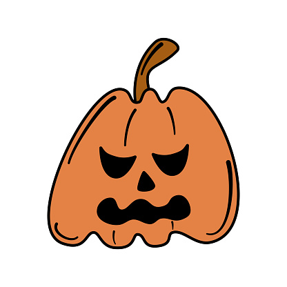 cute cartoon character vector illustration with halloween pumpkin isolated on white background