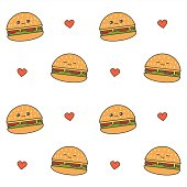 cute cartoon cheeseburgers seamless vector pattern background illustration