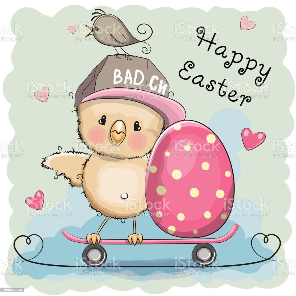 Cute Cartoon Chicken and egg vector art illustration