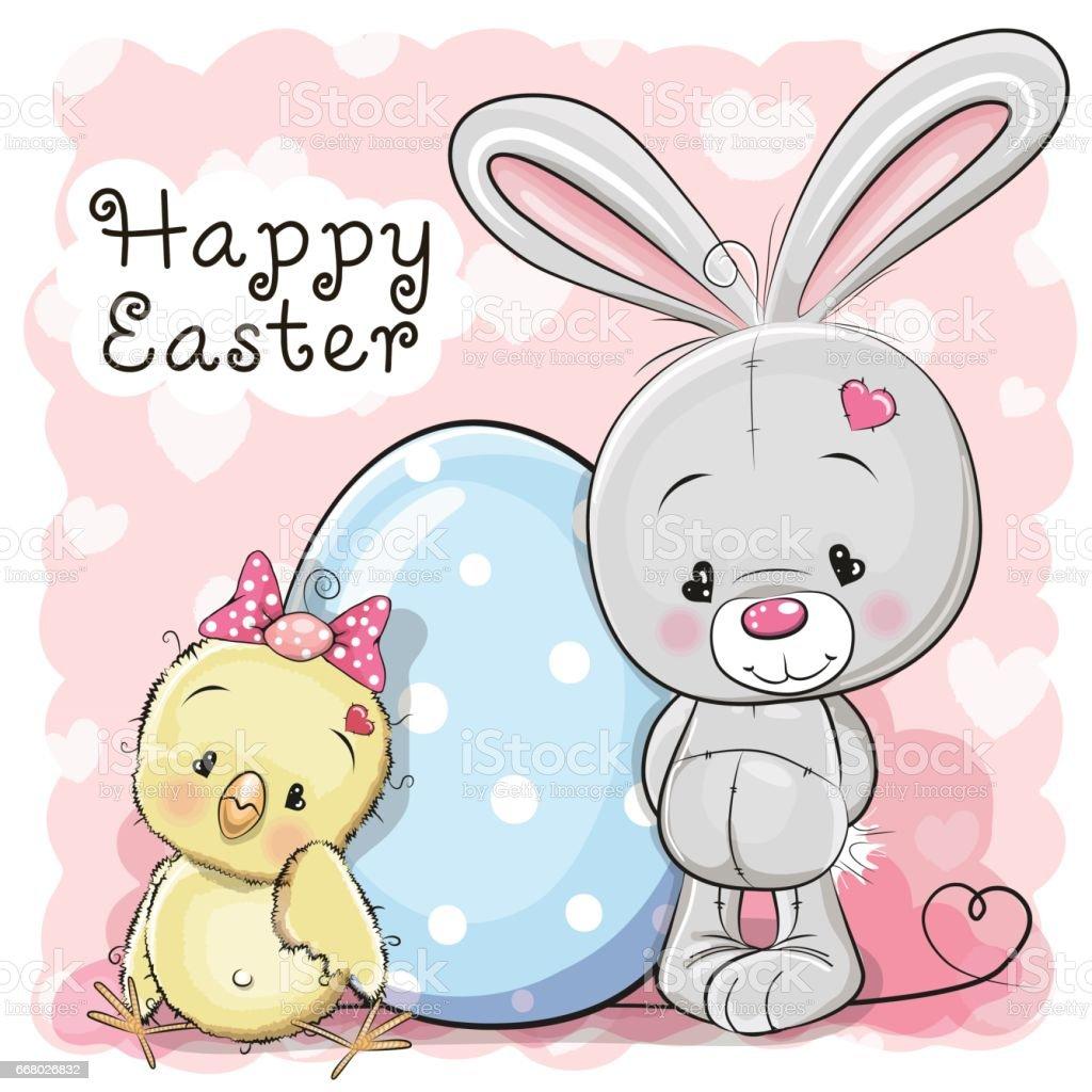 Cute Cartoon Chicken rabbit  and egg vector art illustration