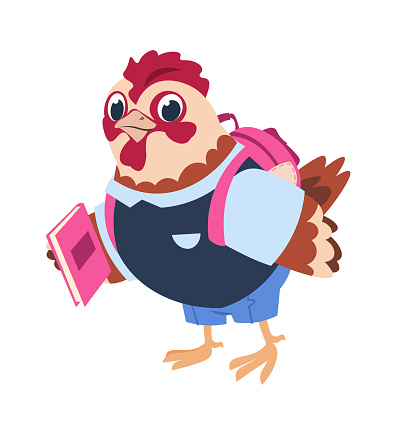 Cute cartoon chicken with book and backpack. Uniform for study and schoolbag. Advertising of clothes for academy, goods for education. Vector little bird in elementary school illustration