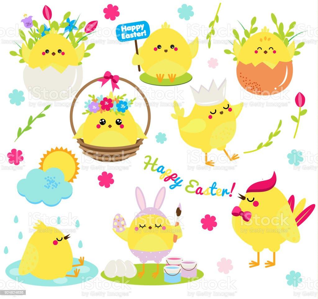 Lindo Conjunto De Pollos Gallinas De Pascua En Las Flores Y Huevos ...