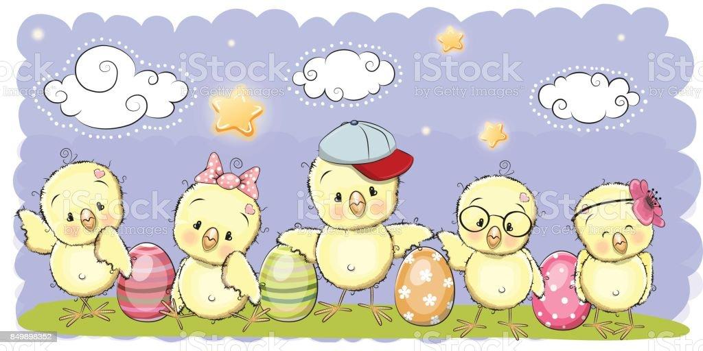 Cute Cartoon chickens vector art illustration