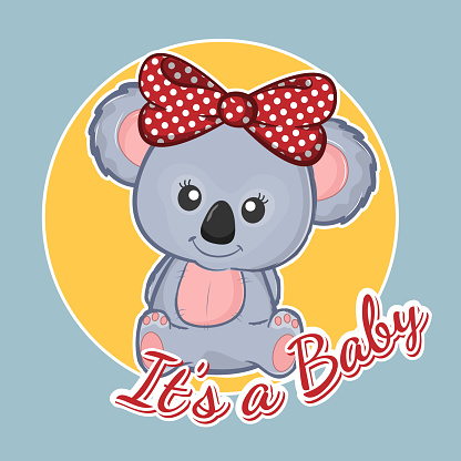 Cute cartoon childish koala teddy. It's a baby.