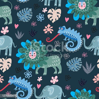 Cute cartoon childish seamless pattern  with lion , chameleon, lizard, in scandinavian style.   Use for textile, fabric, t- shirt template, surface design, fashion kids wear, baby shower. Vector doodle  illustration for kids.