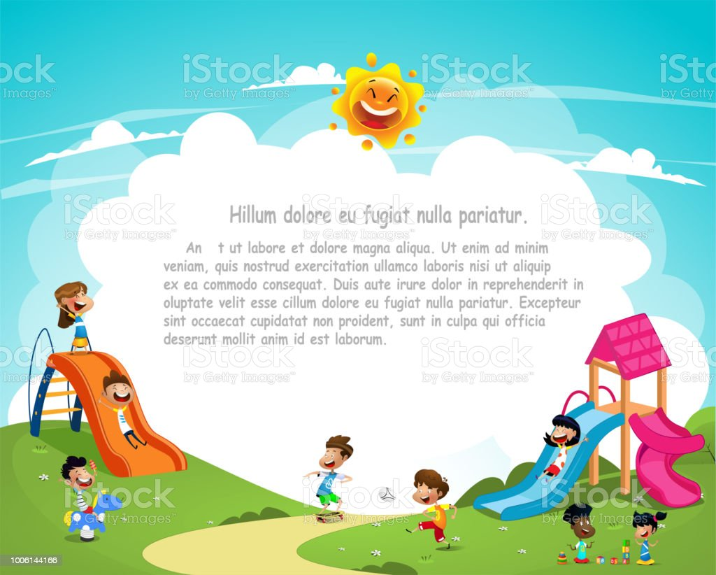 Cute cartoon children playing outside vector art illustration